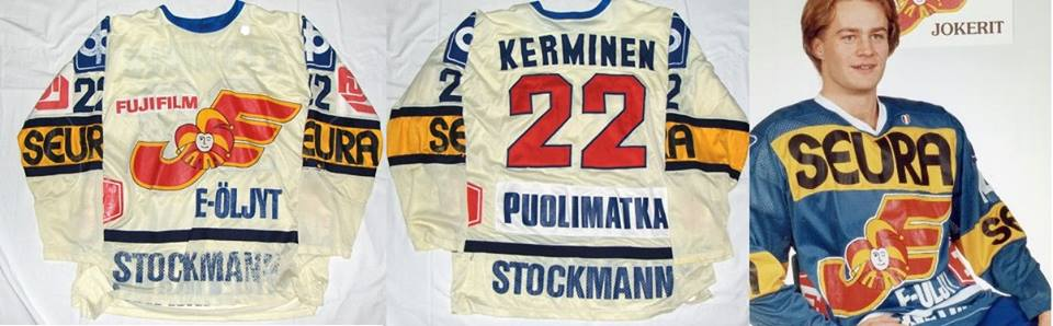Blue and white jerseys. Big Seura Adds. Some variety of other sponsors in  front and back of the jerseys. Stockmann f11f1e4563a